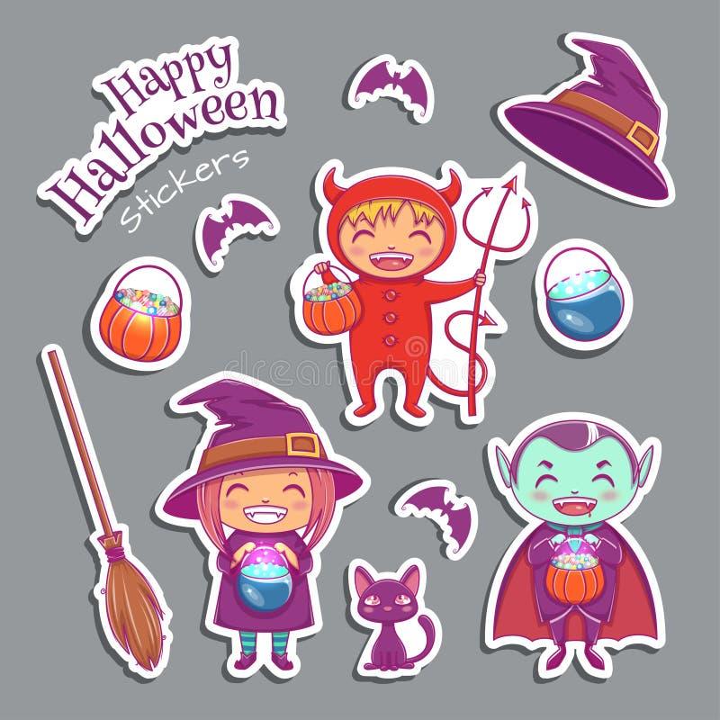 Ensemble de caractères mignons de sorcière d'autocollants sorcière, vampire, diable et d'autres éléments magiques Conception de p illustration stock