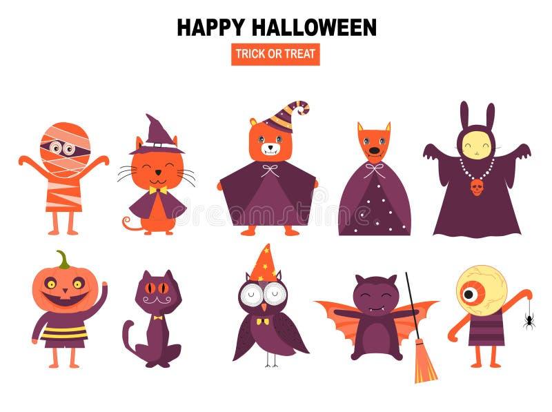 Ensemble de caractères pour Halloween dans le style de bande dessinée, illustrations de vecteur illustration stock