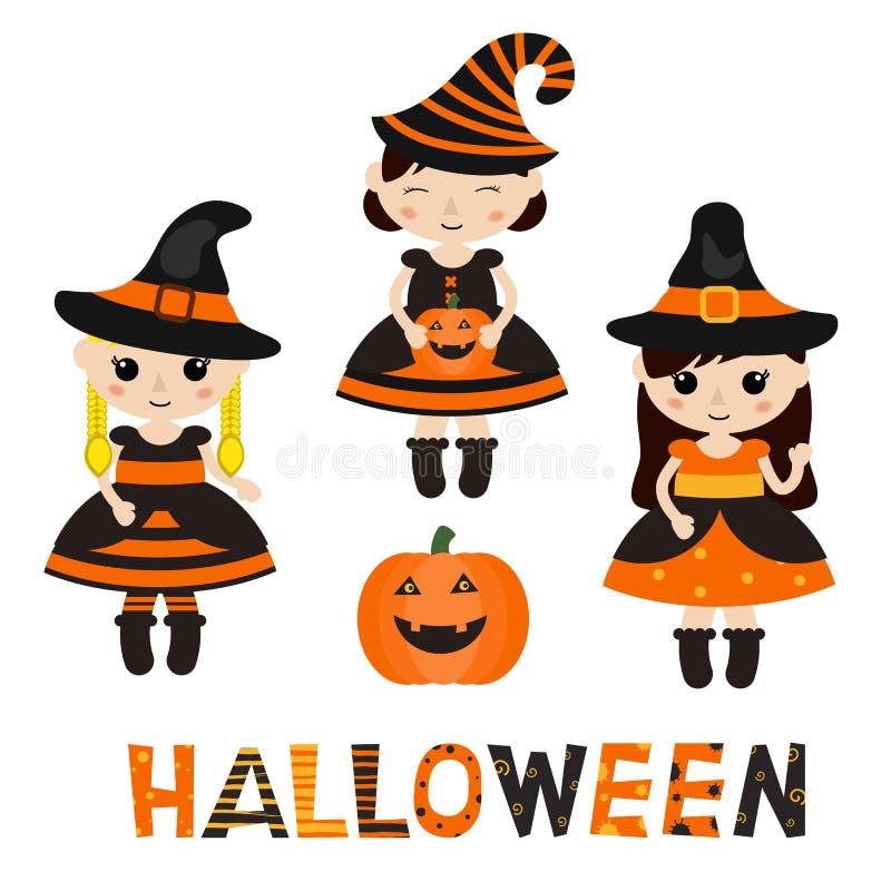 Ensemble de caractères pour Halloween dans le style de bande dessinée illustration libre de droits