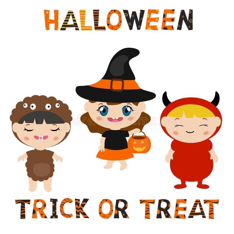 Ensemble de caractères pour Halloween dans le style de bande dessinée illustration stock