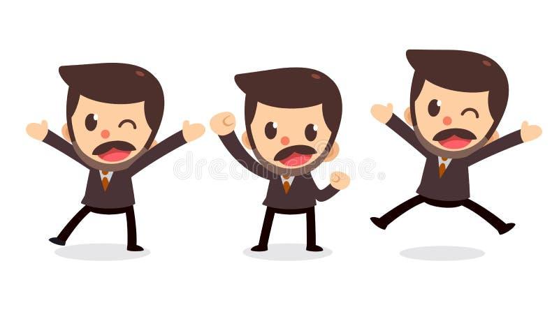 Ensemble de caract?re minuscule d'homme d'affaires dans les actions Heureux et heureux illustration libre de droits