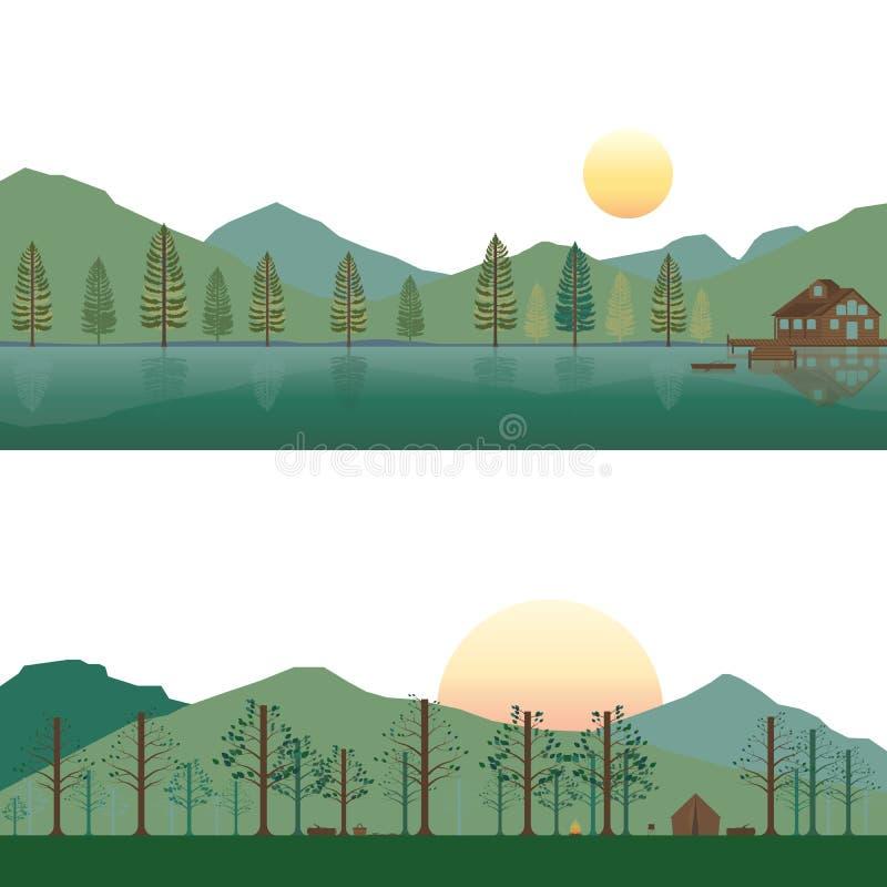 Ensemble de carlingue sur le lac et le camping sur la montagne dans le paysage d'été et de ressort illustration de vecteur
