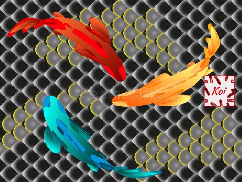 Ensemble de carpe Koi de poissons sur le fond du modèle oriental national, échelles de poissons multicolores Koi illustration stock