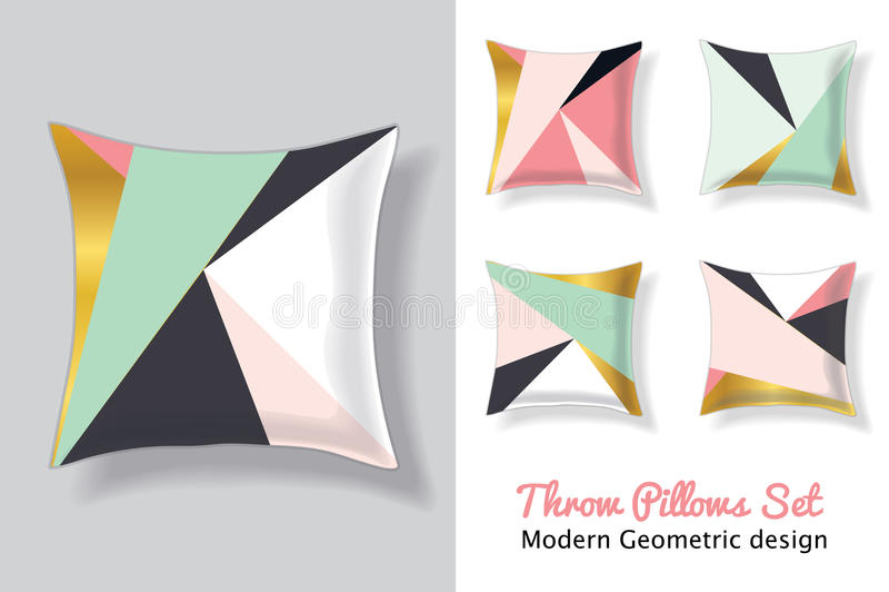Ensemble de carreaux verts roses et en bon état en assortissant les modèles géométriques abstraits modernes uniques de triangles  illustration libre de droits
