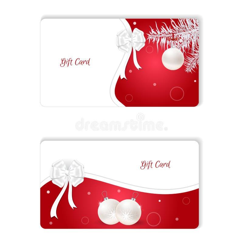 Ensemble de carte cadeaux horizontale de Noël deux blanc avec le rouge Avec les boules et le bantami blancs Podhodit pour l'impre illustration stock