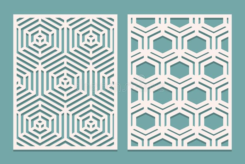 Ensemble de carte découpée avec des matrices Panneaux ornementaux coupés par laser avec le modèle géométrique Approprié à l'impre illustration libre de droits
