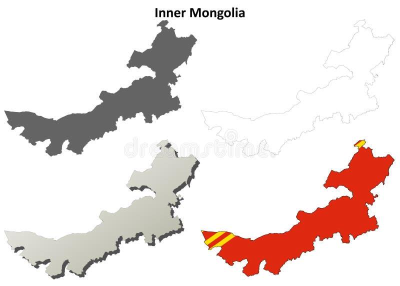 Ensemble de carte d'ensemble de blanc de l'Inner Mongolia illustration stock