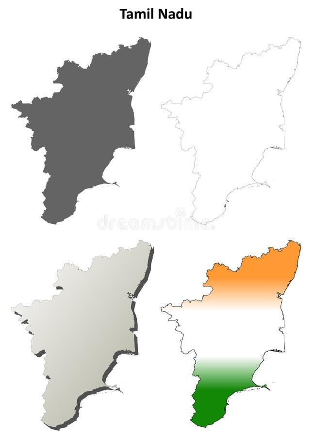 Ensemble de carte d'ensemble de blanc de Tamil Nadu illustration de vecteur