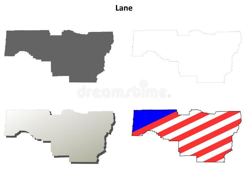 Ensemble de carte d'ensemble du comté de Lane, Orégon illustration de vecteur