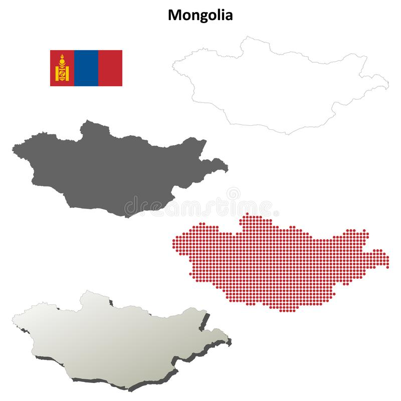Ensemble de carte d'ensemble de la Mongolie illustration libre de droits