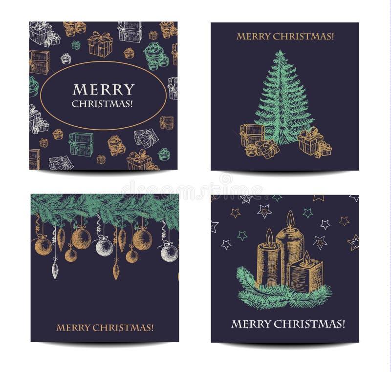 Ensemble de carte de voeux de dessin de main de vacances et de Noël Illustration de vecteur illustration stock