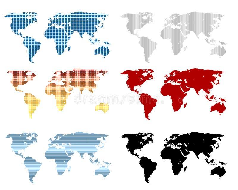 Ensemble de carte du monde illustration libre de droits