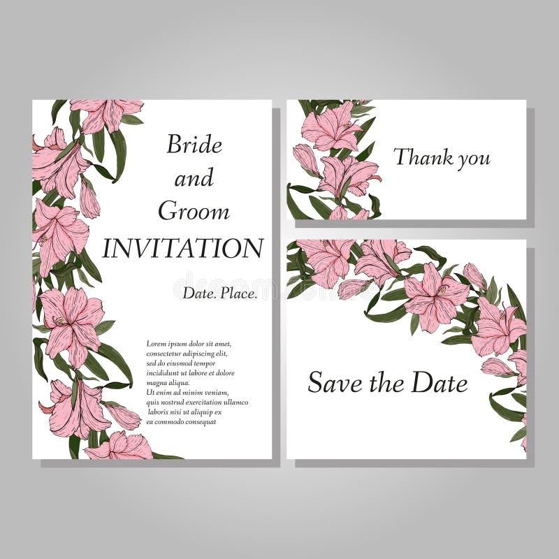 Ensemble de carte peinte à la main botanique d'invitation de mariage de fleur d'Amaryllis Hipperastrum illustration de vecteur