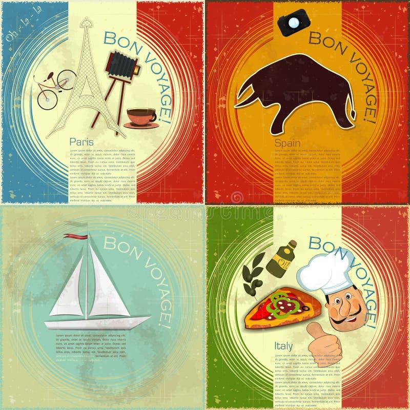 Ensemble de carte postale de course de cru illustration stock