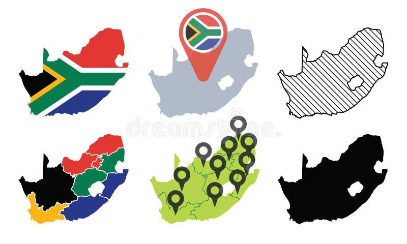 Ensemble de carte de vecteur de l'Afrique du Sud photos libres de droits