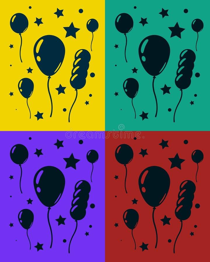 Ensemble de carte de voeux avec le sort de ballons et d'étoiles Joyeux anniversaire Illustration de vecteur illustration stock