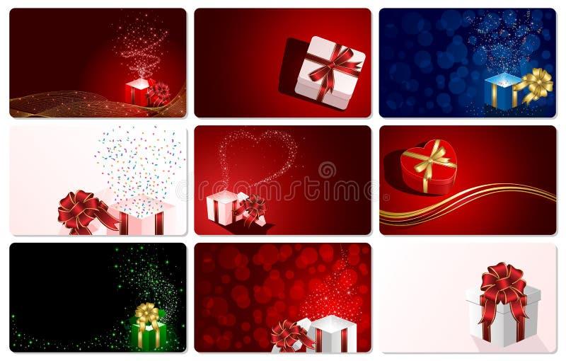 Ensemble de cartes avec des présents illustration stock