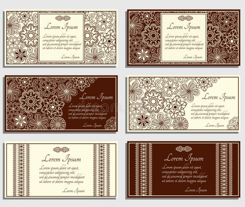 Ensemble de cartes beiges d'invitation illustration stock