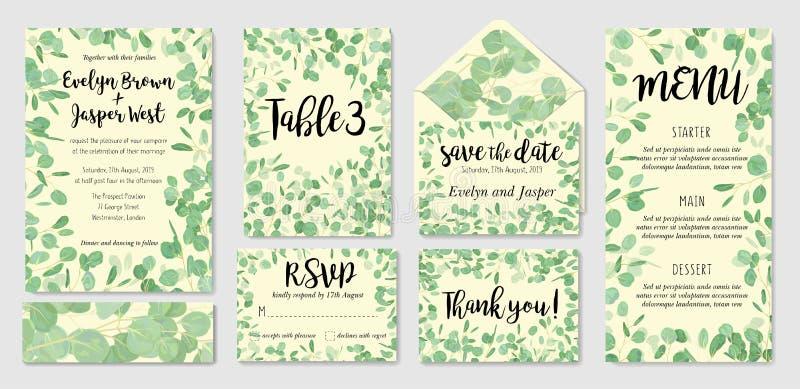 Ensemble de cartes botaniques créatives de vecteur avec l'eucalyptus Forêt I illustration de vecteur