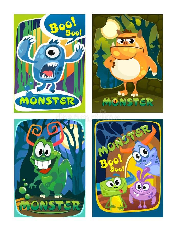 Ensemble de cartes colorées mignonnes de monstre Affiches de monstres de bande dessinée pour illustration libre de droits