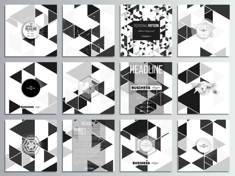 Ensemble de 12 cartes créatives, conception carrée de calibre de brochure Modèle triangulaire de vecteur Triangles noires abstrai illustration libre de droits