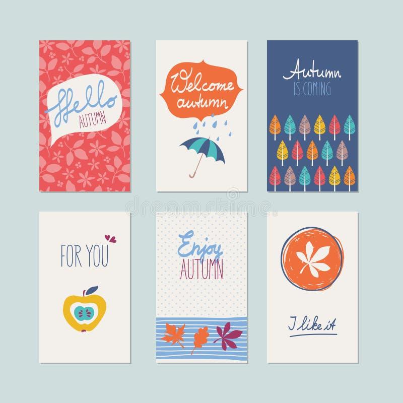 Ensemble de cartes décoratives d'automne illustration stock