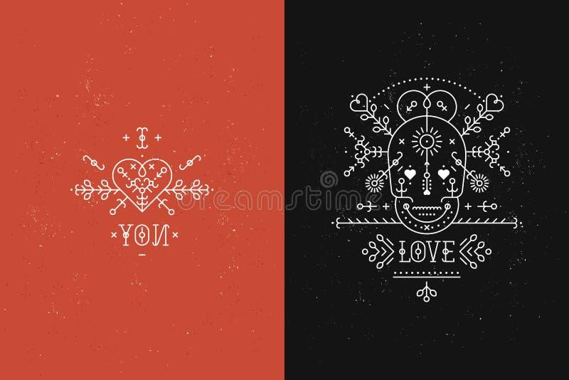Ensemble de cartes d'amour illustration stock