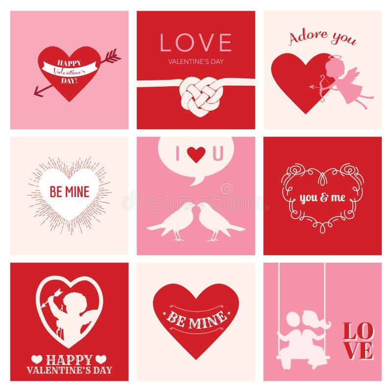 Ensemble de cartes d'amour pour la Saint-Valentin illustration stock