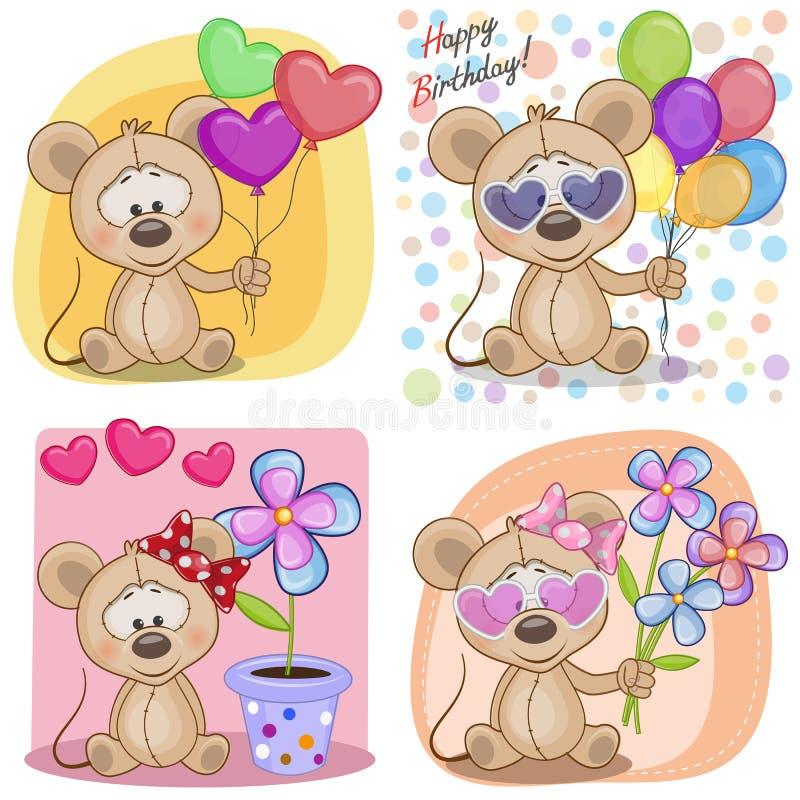 Ensemble de cartes d'anniversaire illustration stock