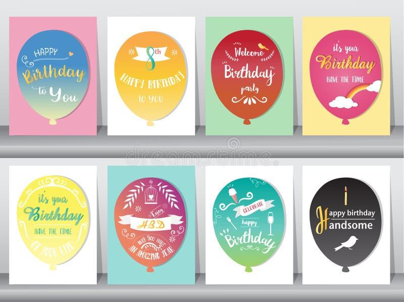 Ensemble de cartes d'anniversaire, couleur de vintage, affiche, calibre, cartes de voeux, ballons, animaux, illustrations de vect illustration de vecteur