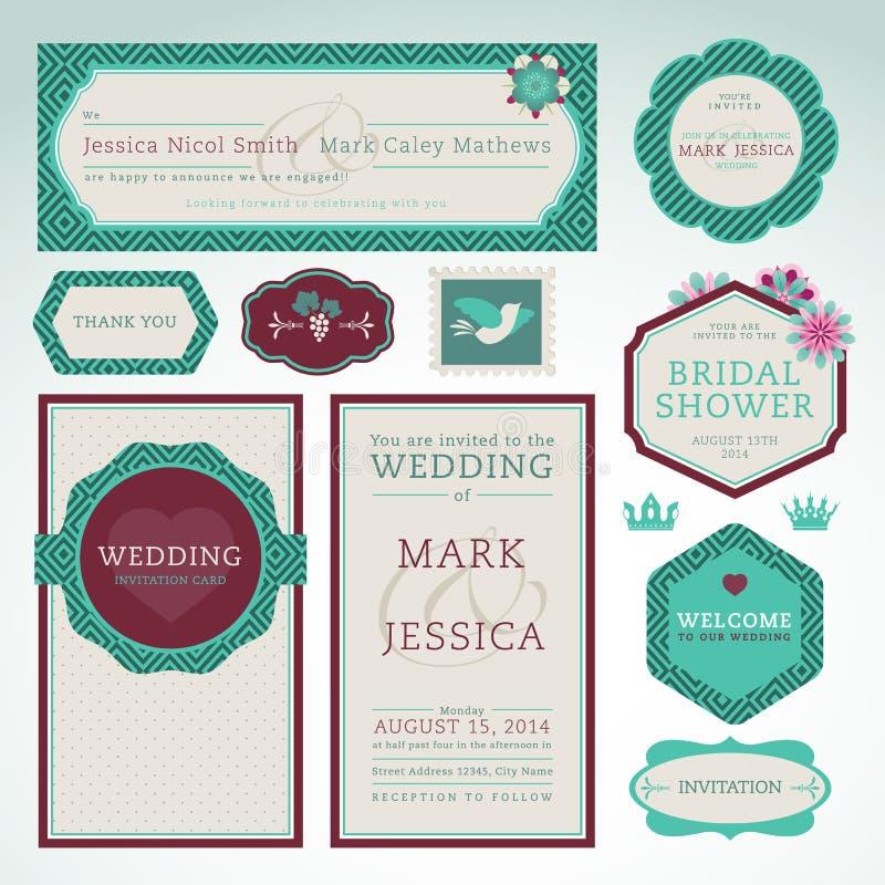 Ensemble de cartes d'invitation de mariage illustration libre de droits