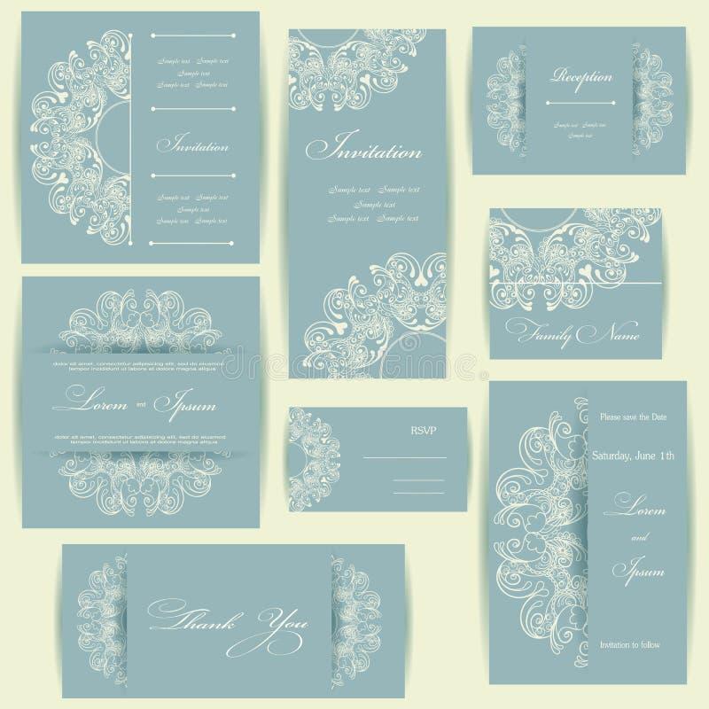 Ensemble de cartes d'invitation de mariage illustration de vecteur