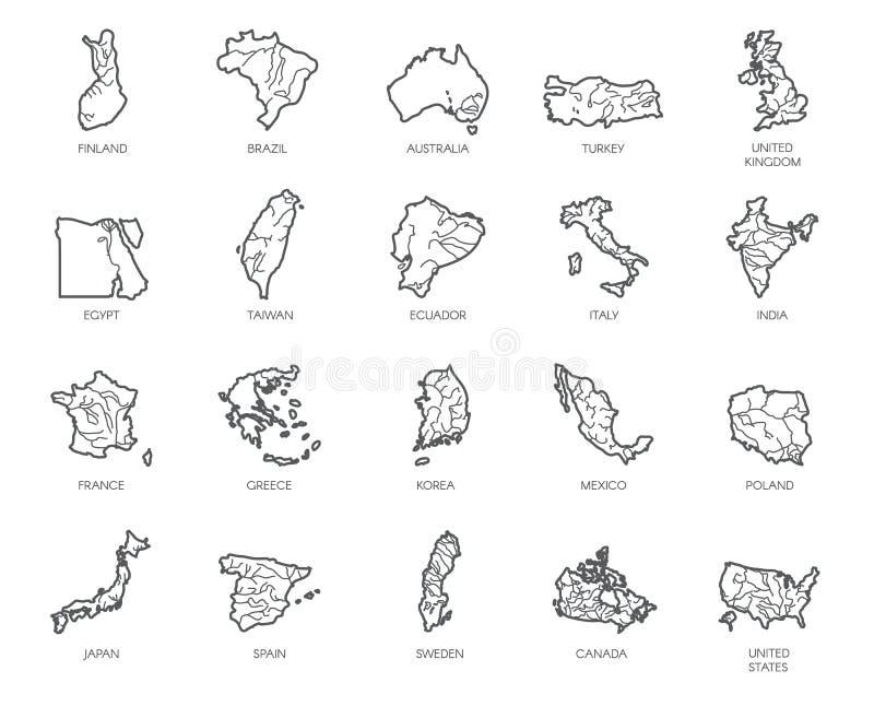 Ensemble de 20 cartes dans le style linéaire de différents pays - Angleterre, Amérique, Asie, l'Europe Icône d'isolement par cont illustration de vecteur