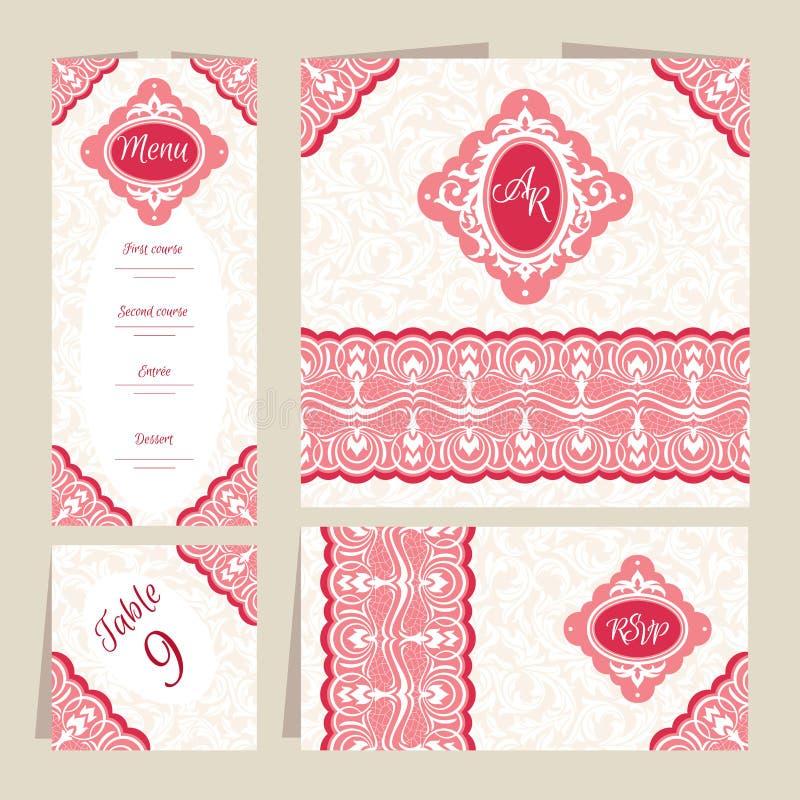 Ensemble de cartes de mariage florales illustration de vecteur