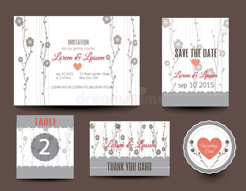 Ensemble de cartes de mariage Invitations de mariage, merci carder, économiser illustration de vecteur