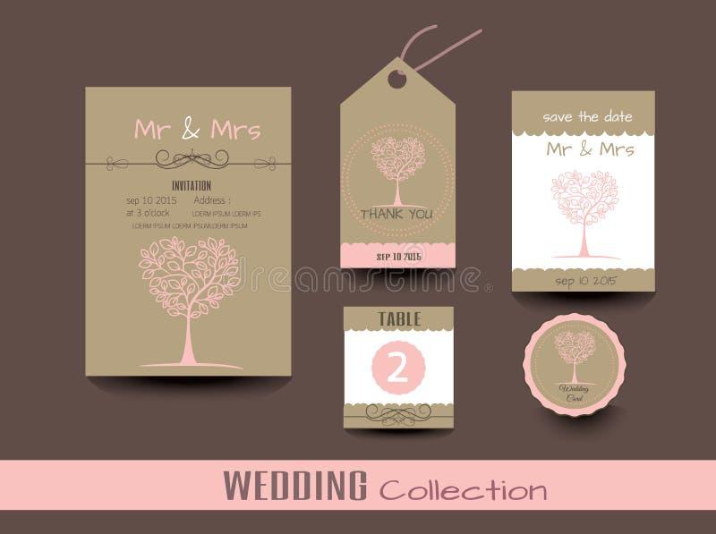 Ensemble de cartes de mariage Invitations de mariage, merci carder illustration libre de droits