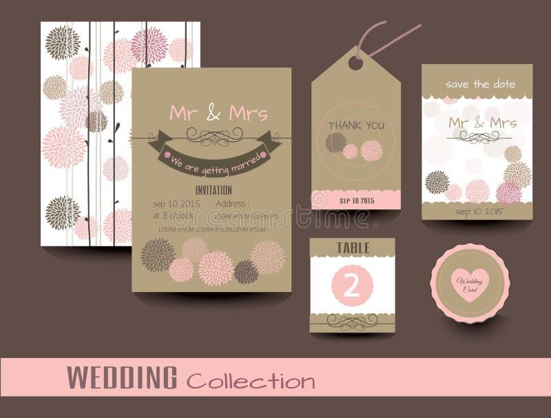 Ensemble de cartes de mariage Invitations de mariage Vecteur illustration libre de droits