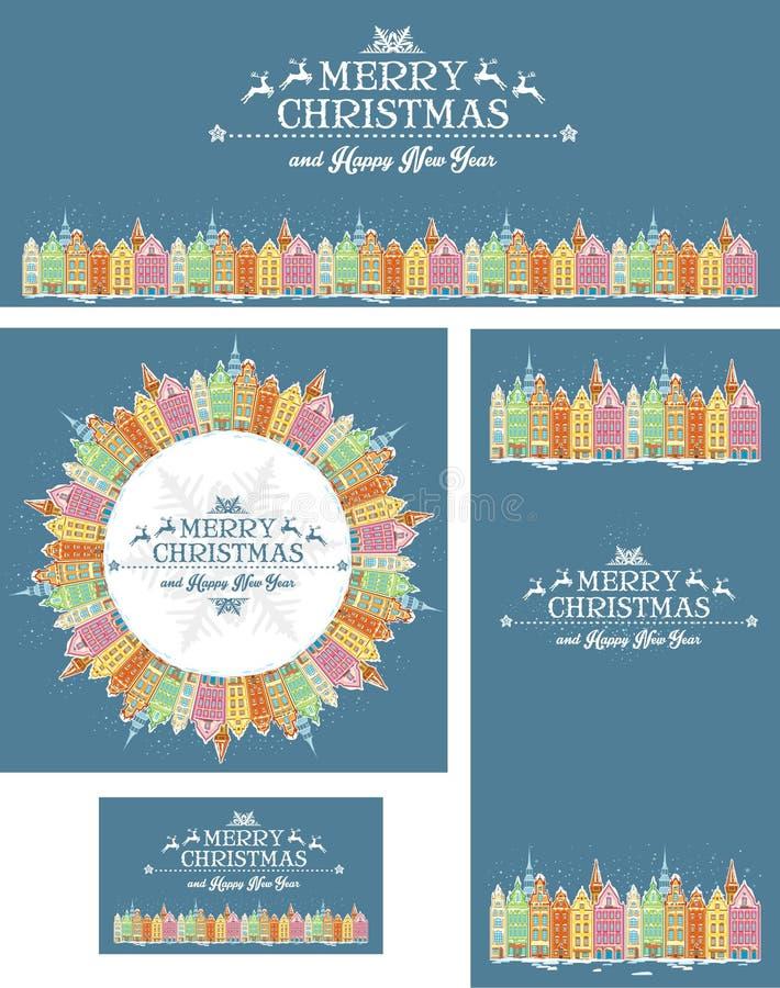 Ensemble de cartes de Noël avec la vieille ville illustration libre de droits