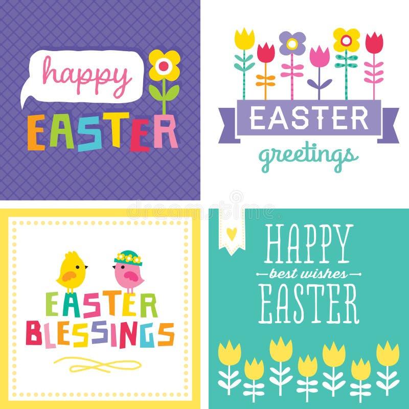 Ensemble de cartes de Pâques mignonnes de hippie illustration stock
