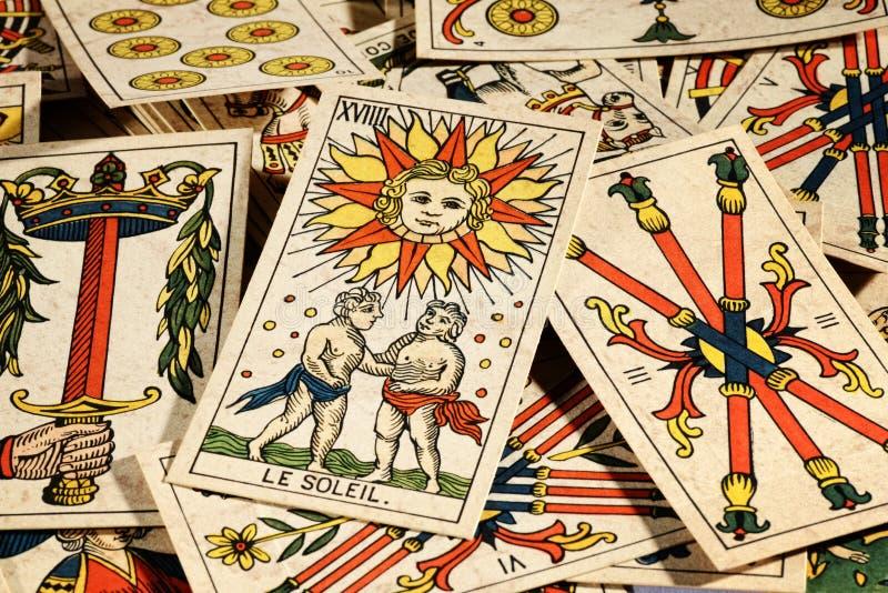 Ensemble de cartes de tarot photographie stock libre de droits