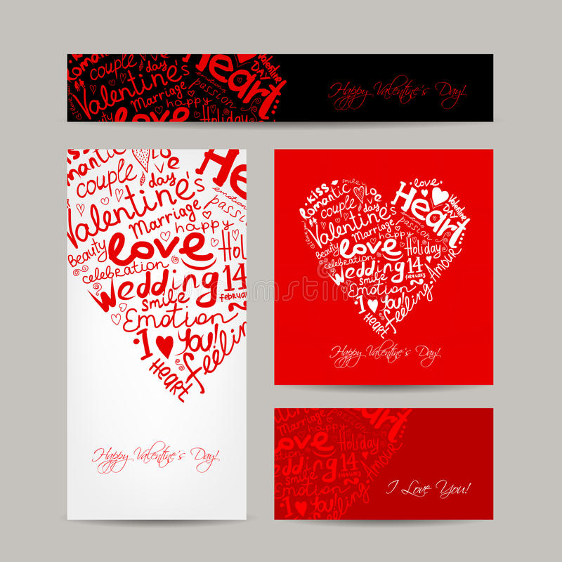 Ensemble de cartes de valentine pour votre conception illustration stock