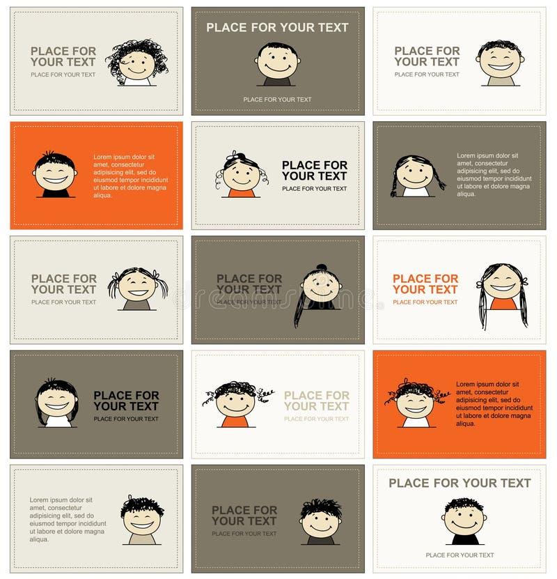 Ensemble de cartes de visite professionnelle de visite avec des visages pour votre conception illustration stock