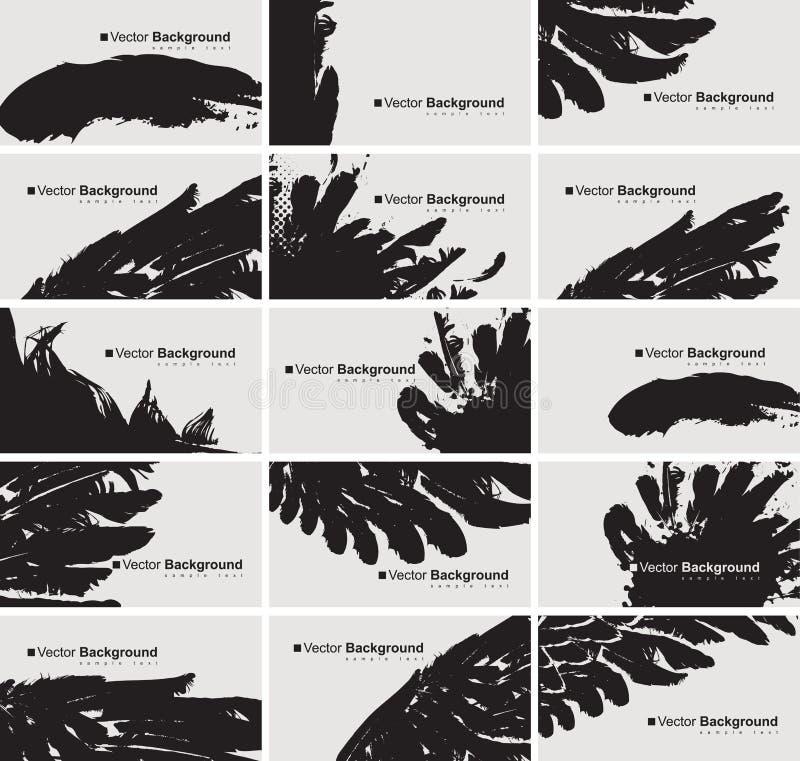 Ensemble de cartes de visite professionnelle de visite avec une plume d'oiseau illustration libre de droits