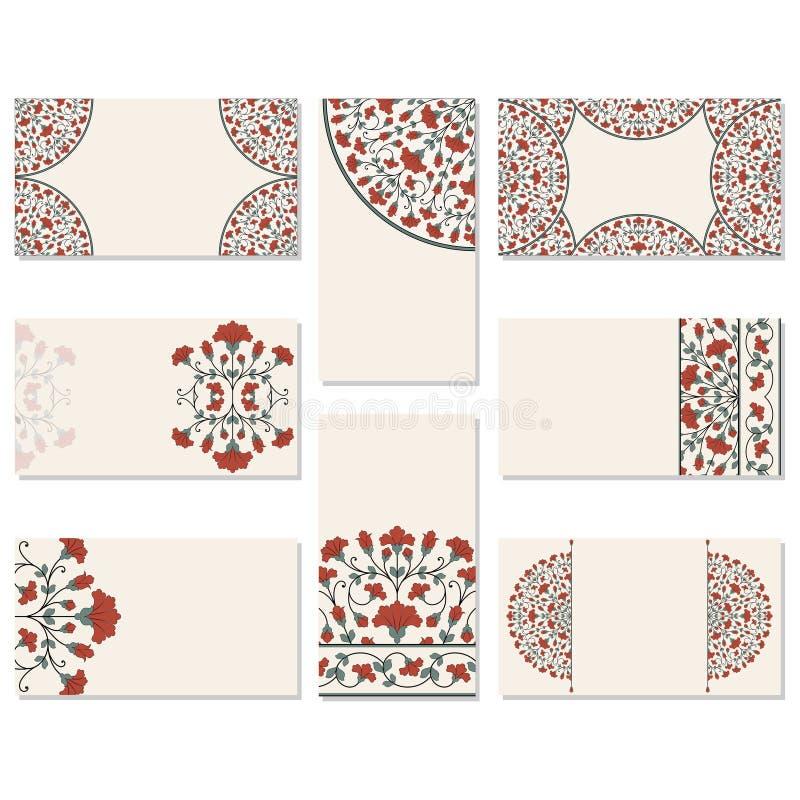 Ensemble de cartes de visite professionnelle de visite florales illustration stock