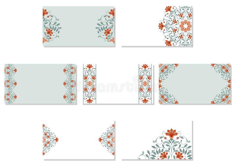 Ensemble de cartes de visite professionnelle de visite florales illustration libre de droits