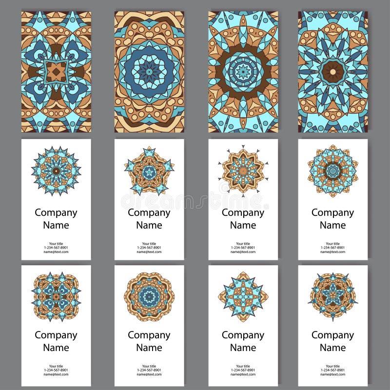 Ensemble de cartes de visite professionnelle de visite Modèle de vintage dans le rétro style avec le mandala L'Islam tiré par la  illustration stock