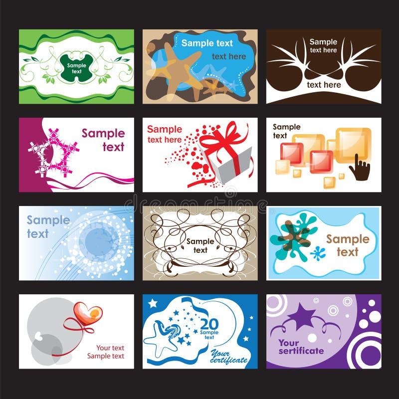 Ensemble de cartes de visite professionnelle de visite sur différents sujets illustration stock