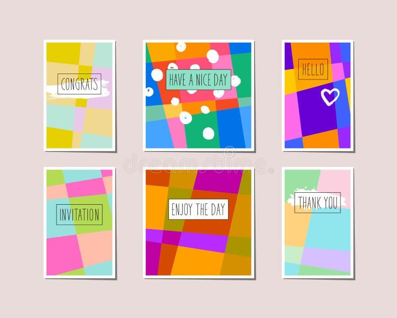 Ensemble de cartes de voeux décoratives illustration stock