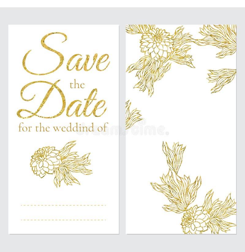 Ensemble de cartes de voeux de mariage de vecteur illustration de vecteur