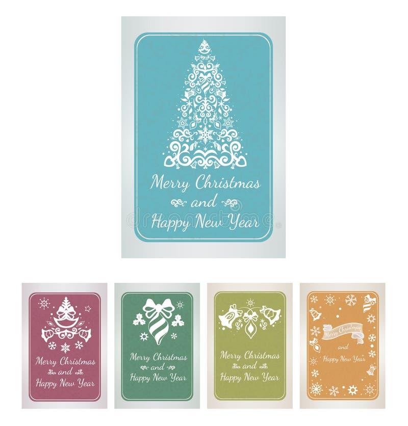 Ensemble de cartes de voeux de Noël avec les éléments décoratifs illustration de vecteur